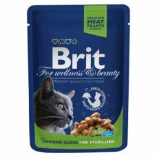 Brit 100гр Premium пауч  д/кошек Chicken Slice for Sterilized 1/24