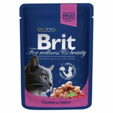 Brit 100гр Premium пауч д/кошек  Salmon & Trout Лосось и форель 100306 1/24