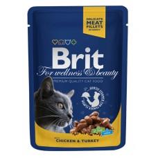 Brit 100гр Premium паучд/кошек Chicken & Turkey Курица и индейка, 1/24