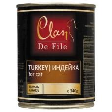 CLAN De File консервы для кошек 340 г Индейка (уп-12шт) №82-