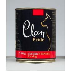 CLAN PRIDE консервы для собак 340 г Говяжье сердце и печень (уп-12шт)