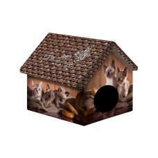 Домик для животных 33*33*40см ДМД-1 Котята и мешковина-