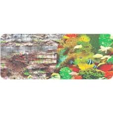 Фон двухсторонний 30см. Камни скалистая стена/ Морской кораллы с рыбами 9035-9036(30)
