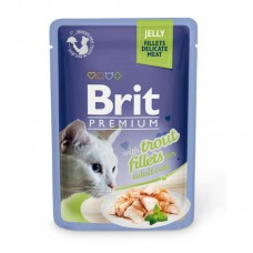 Brit 85,0 Premium пауч д/кошек JELLY Trout fillets Кусочки из филе форели в желе 518494   1/24