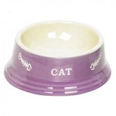 Миска 14x4,8см 0,14л керамика фиолетовая с рисунком CAT
