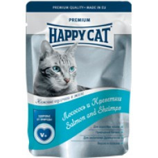 HAPPY CAT 100,0 пауч лосось/креветки в желе  1/22