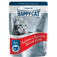 HAPPY CAT 100,0 пауч говядина/баранина в соусе 1/22
