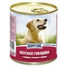 HAPPY DOG 750,0 конс. Вкусная говядина/сердце/печень/рубец 2219  1/24 (00253422   )
