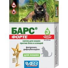 Барс форте капли для кошек против блох и клещей (3 пип по 1.0 мл)   9120 (00371946   )