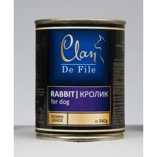 CLAN De File консервы для собак 340 г Кролик (уп-12шт)