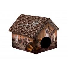 Домик для животных 33*33*40см ДМД-1 Шоколадные котята