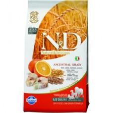 FARMINA N&DНЗ 12 кг д/собак Аdult Medium/Maxi треска/апельсин 6636 1/1 (00373243   )