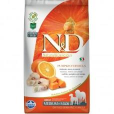 FARMINA N&D 2,5кг д/собак Adult Medium/Maxi тыква/треска/апельсин 6551 1/4 (00374641   )