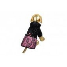 Шубка 10 черная с розовой юбкой MOS-026-S