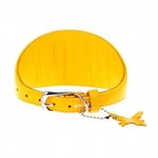 Ошейник КОЛЛАР 34648 дл 23-27см шир 15мм GLAMOUR для борзых собак без украшений  желтый --
