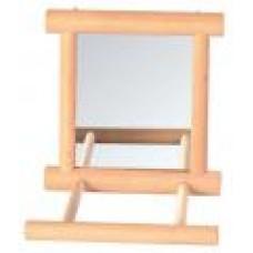 Зеркало д/птиц деревянное с жердочкой 9*9см