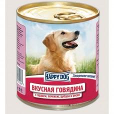 HAPPY DOG 750,0 конс. Вкусная говядина/сердце/печень/рубцец/рис (00379383   )