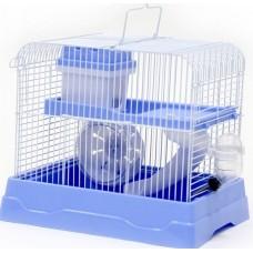 Клетка д/грызунов 30*23*25,7 прямоугольная укомплектованная голубая 2 этажа №1