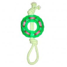 Кольцо 18см YUGI игрушка д/собак веревочное кольцо термопластичная резина зеленое