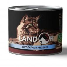 LANDOR 0,2кг конс. д/взрослых кошек куропатка/индейка 9022 1/6 (00384227   )