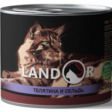 LANDOR 0,2кг конс. д/пожилых кошек телятина/сельдь 9046 1/6