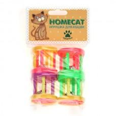 Барабаны пластиковые с колокольчиком HOMECAT Игрушка для кошек  4см 4шт.
