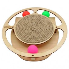 Игровой комплекс для кошек Круг с шариками c когтеточкой из каната (00386834   )