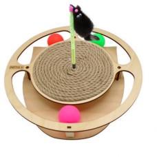 Игровой комплекс для кошек Круг с шариками c игрушкой на пружине c когтеточкой из каната (00386836   )