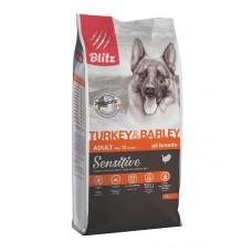 BLITZ Sensitive ADULT Turkey&Barley полнорационный сухой корм для взрослых собак 15кг 0139