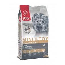 BLITZ Classic ADULT MINI&TOY полнорационный сухой корм для взрослых собак миниатюрных пород 2 кг0528