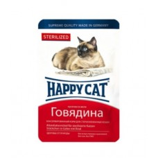 HAPPY CAT 100,0 пауч говядина кусочки в желе для стерилизованных кошек 1,/22 (00389101   )