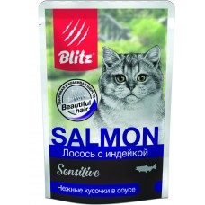 BLITZ 0,085гр Лосось с индейкой, кусочки в соусе, корм консерв. полнорац. для кошек  (00389855   )